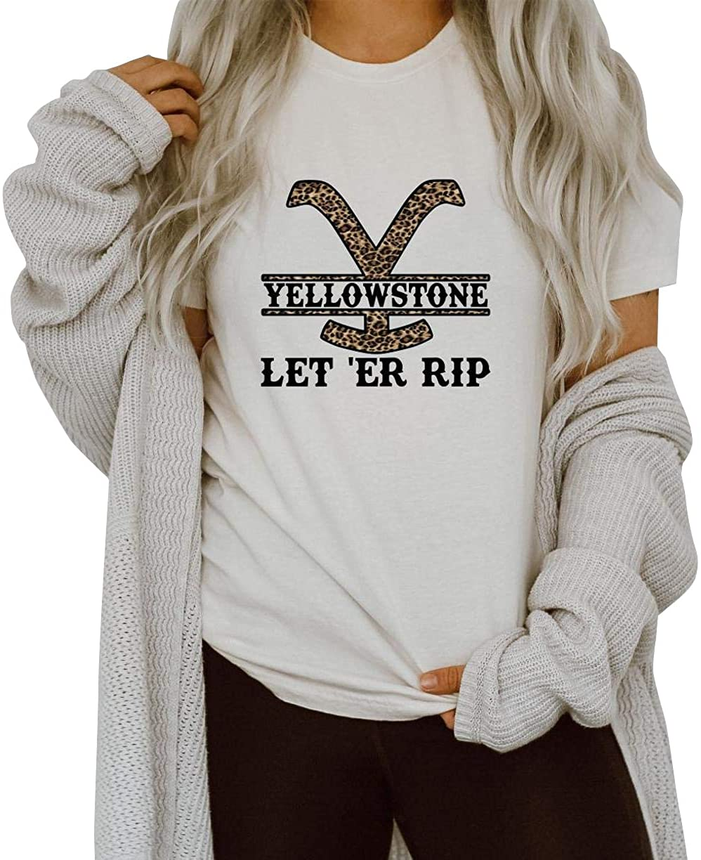 Women Yellowstone Park Shirt Leopard Print Pattern Let Er Rip Country Music Vintage Tee