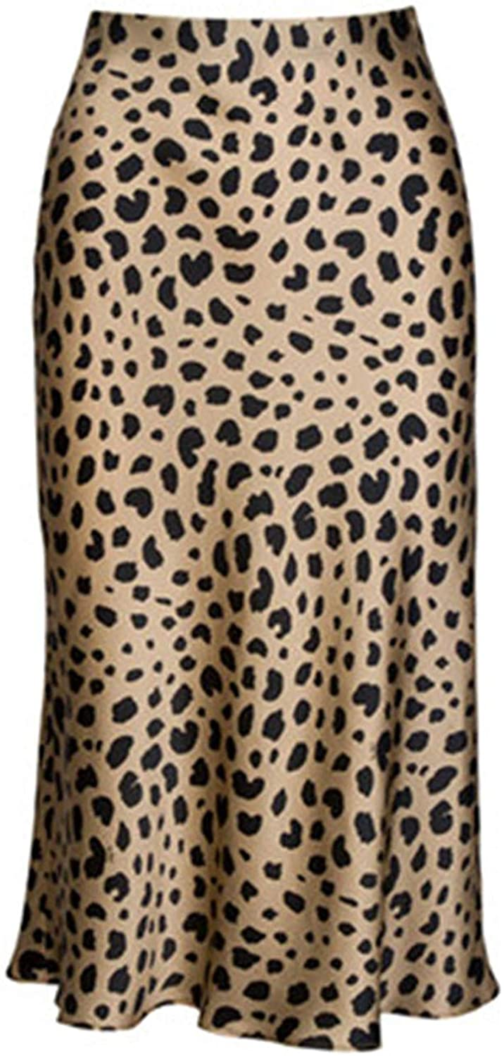 Soowalaoo High Waist Leopard Midi Skirt Hidden Elasticized Waistband Silk Satin Skirts