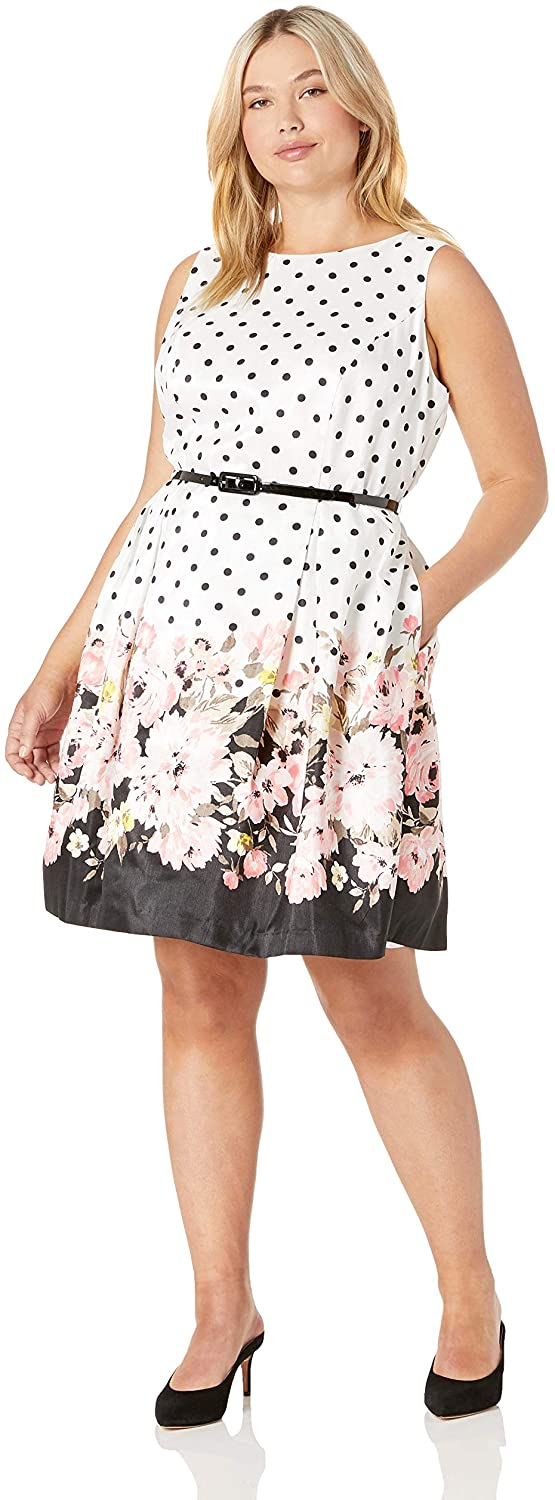 Jessica Howard Plus Size Womens Sleeveless Fit and Flare Dress