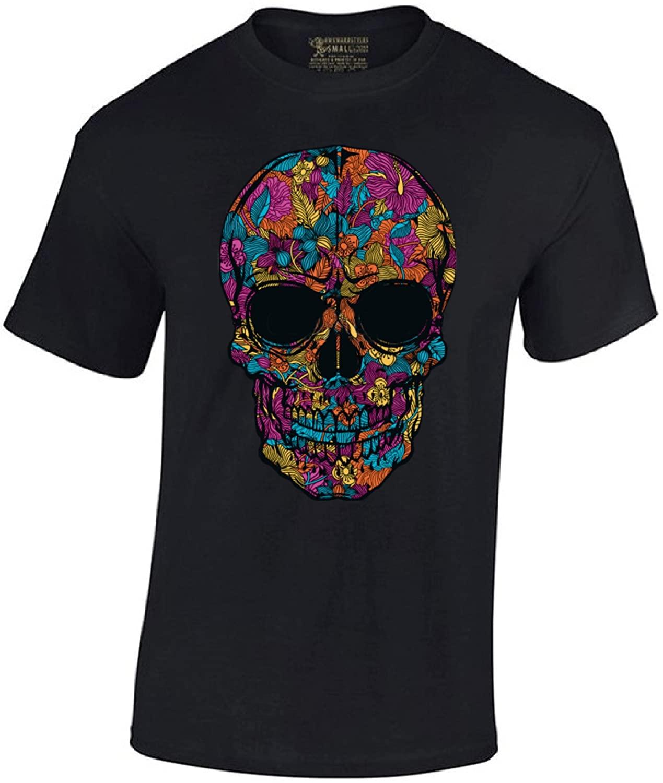 Men's Black Flower Sugar Skull T-Shirt Day of The Dead Shirt