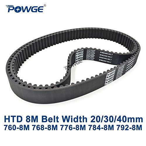 Ochoos HTD 8M synchronous Belt C=760/768/776/784/792 Width 20/30/40mm Teeth 95 96 97 98 99 HTD8M Timing Belt 760-8M 776-8M 792-8M - (Width: 20mm, Length: 768mm Teeth 96, Number of Pcs: 2pcs)