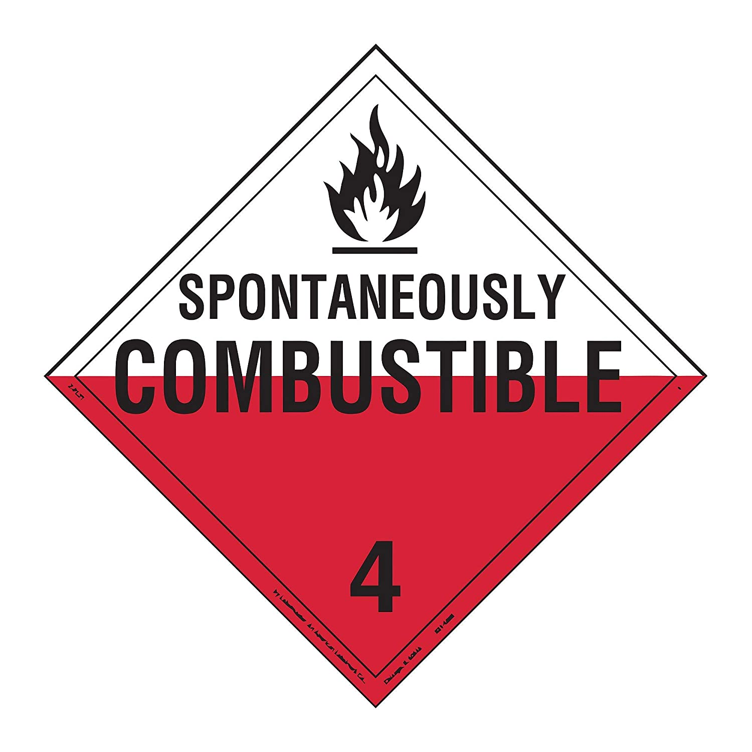 Labelmaster Z-PVE Spontaneously Combustible Hazmat Placard, Worded, Permanent Vinyl (Pack of 25)