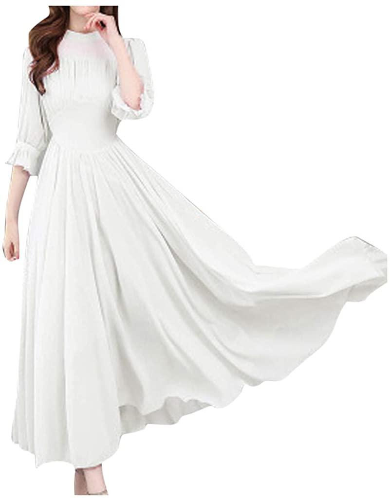 TOTAMALA Women Dresses Plus Size O-Neck Half Sleeve Solid Boho Dress Elegant Slim was Thin Big Swing Dress(S/4XL)