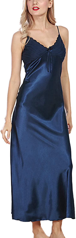 Asskyus Women's Lingerie, Ladies Satin Pajamas Lace Nightwear, Long Nightdress