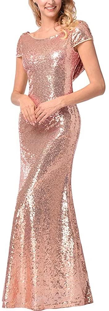 RJOAM Womens Sequin Prom Dress Long Sleeveless Evening Formal Gown