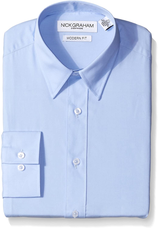 Nick Graham Everywhere Men's Modern Fit Solid Point Collar Dress Shirt