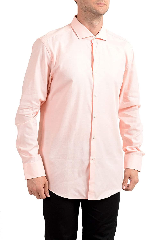 Hugo Boss Men's Jarrin Pink Slim Fit Long Sleeve Dress Shirt US 17.5 IT 44