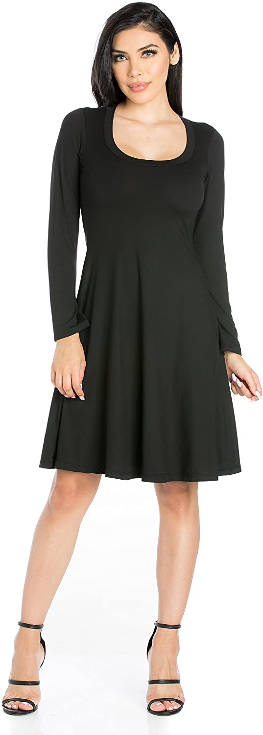 24seven Comfort Apparel Women's Long Sleeve Scoop Neck Knee Length Fit and Flare Dress - Made in USA - (Sizes S-1XL)