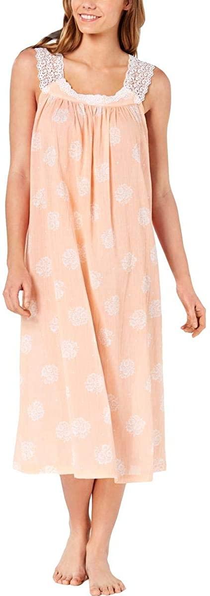 Charter Club Women's Lace Straps Woven Cotton Nightgown, Orange