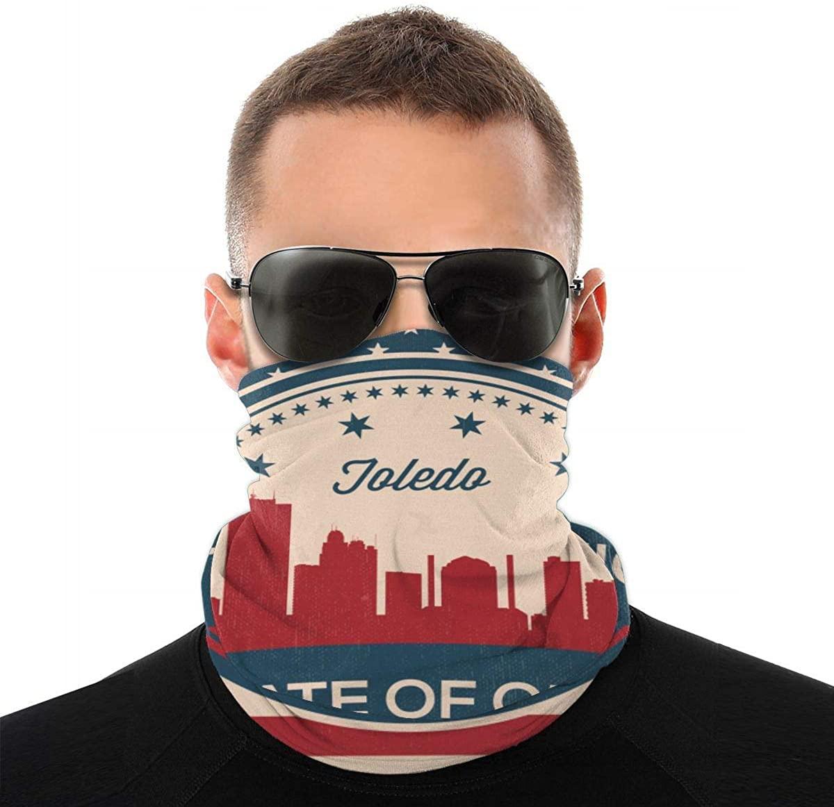 Ohio State Toledo Skyline Bandanas Magic Headband Face Mask For Dust, Outdoors, Festivals, Sports