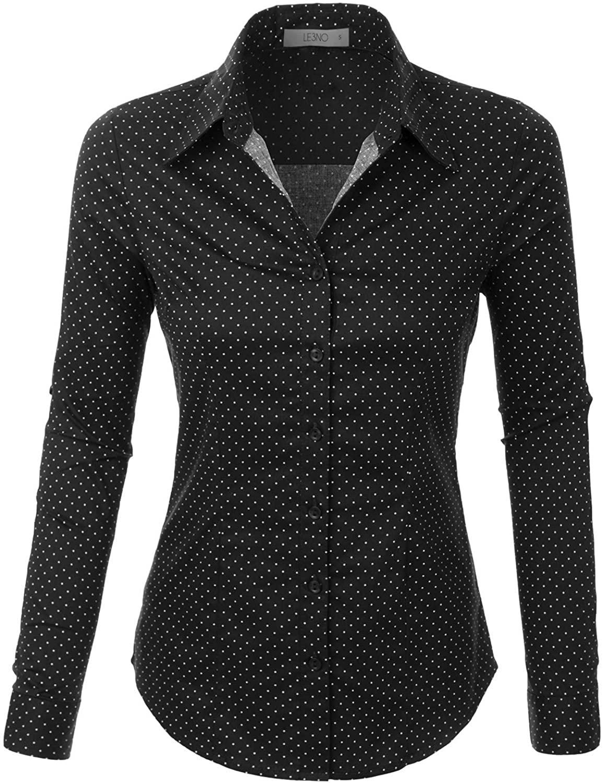 LE3NO Womens Tailored Polka Dots Button Down Shirt