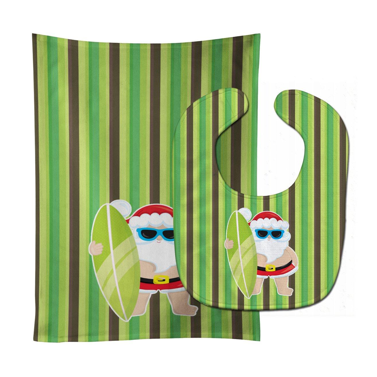 Caroline's Treasures BB9072STBU Beach Santa Claus #5 Baby Bib & Burp Cloth, 11 x 18