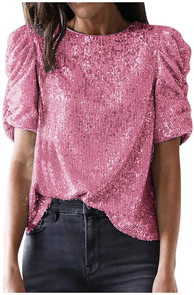 LATINDAY Women Solid Sequin Blouse Top Long Sleeve Stand Collar Party T Shirt