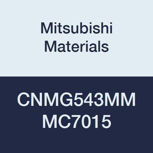 Mitsubishi Materials CNMG543MM MC7015 Carbide CN Type Negative Turning Insert with Hole, Stable Cutting, Coated, Rhombic 80°, 0.625