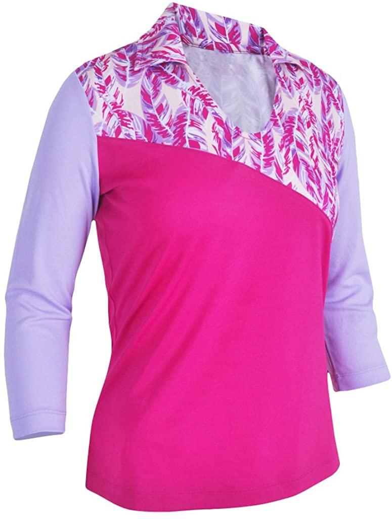 Monterey Club Women's Paradise Feather Print Block 3/4 Sleeve Polo Shirt #2376