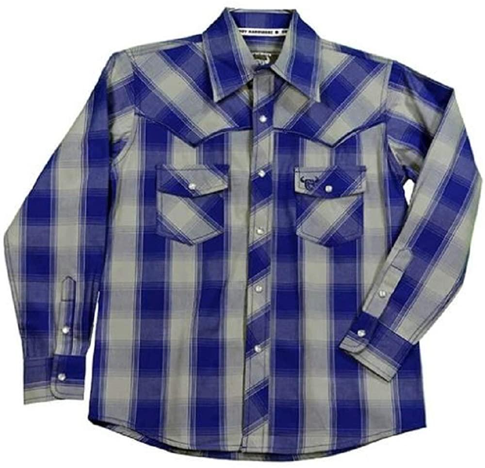 Toddler Boy's Cowboy Hardware Classic Plaid Long Sleeve Royal Western Shirt 4T