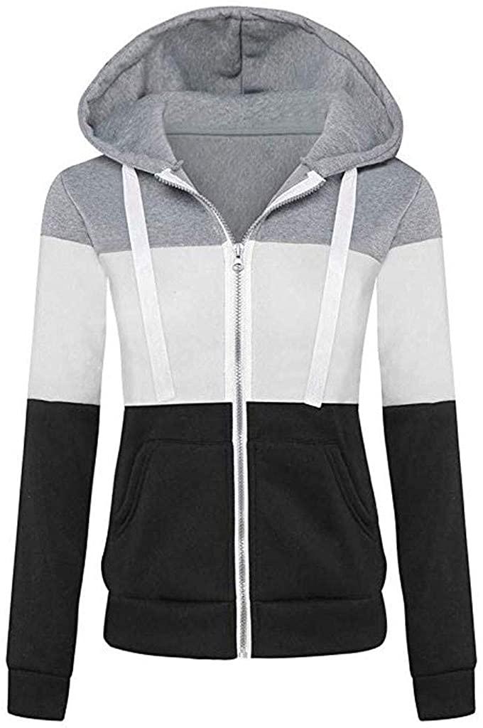 MOMKER Women Hooded Sweatshirt Long Sleeve Hoodie Jacket Solid/Colorblock Zipper Sport Coat Outwear with Pockets