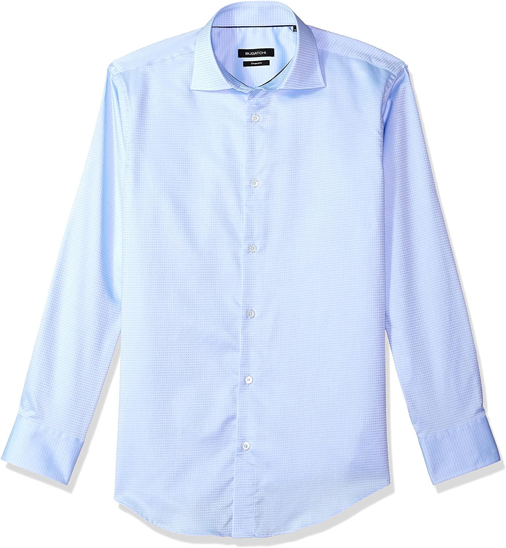 Bugatchi Men's Fitted Tonal Jacquard Pointed Collar Dress Shirt