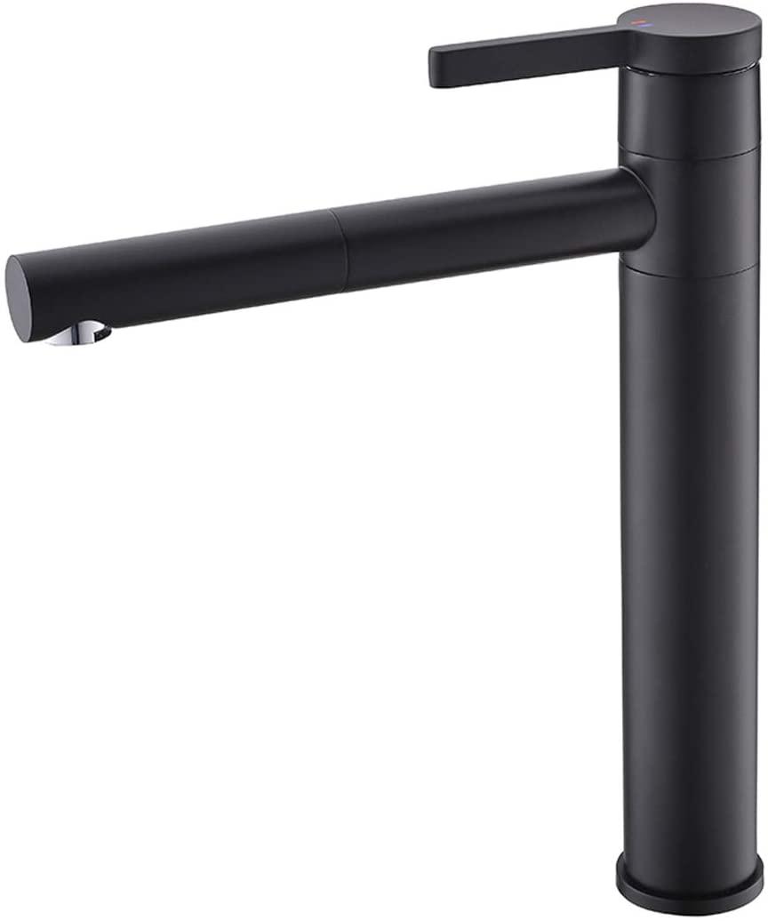 CIENCIA Bathroom Sink Faucet Single Handle Brass Vessel Sink Faucet 360°Rotating Spout Tall Basin Mixer Tap Black, BB6112C