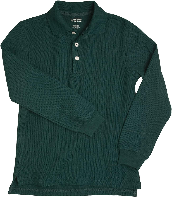 French Toast School Uniform Boys Long Sleeve Pique Polo Shirt, Hunter Green