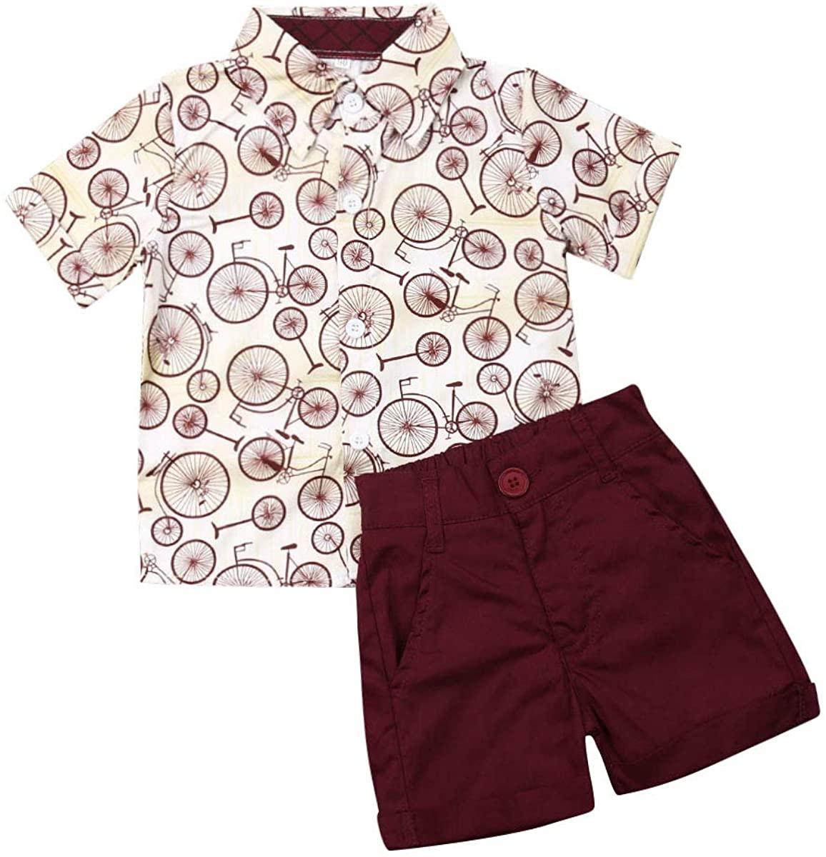 2PCS Toddler Little Boy Kids Summer Floral Shirt Blouse Tops + Bermuda Shorts Outfit Set Clothes Pants Suits