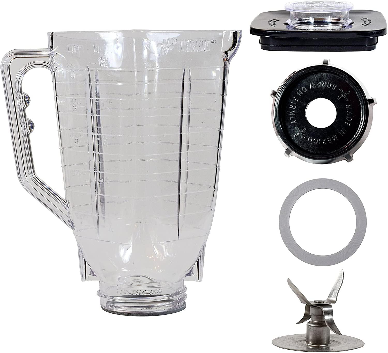 5 Cup Break Resistant Plastic Square Complete Blender Jar Fits Oster
