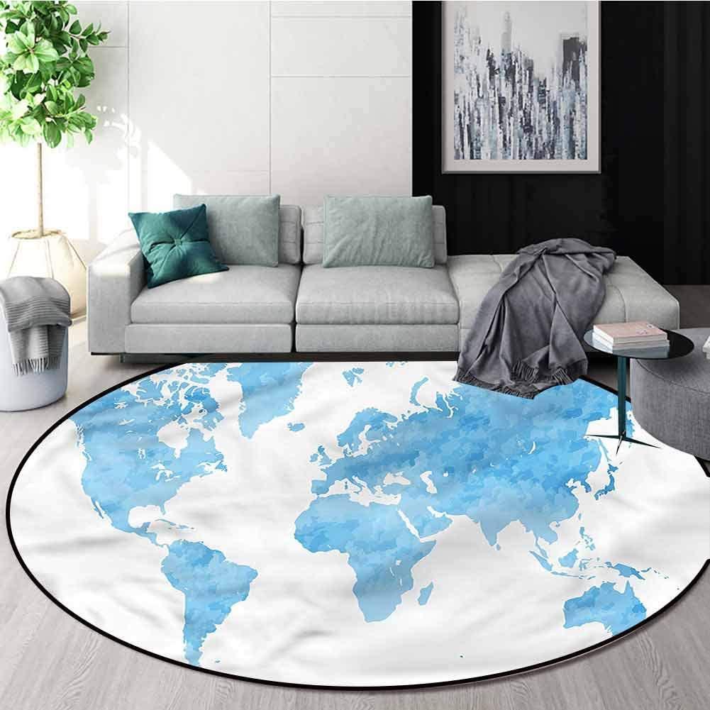 RUGSMAT Map Dining Room Home Bedroom Carpet Floor Mat,Blue Watercolor World Map Non-Slip Bathroom Soft Floor Mat Home Decor Round-59