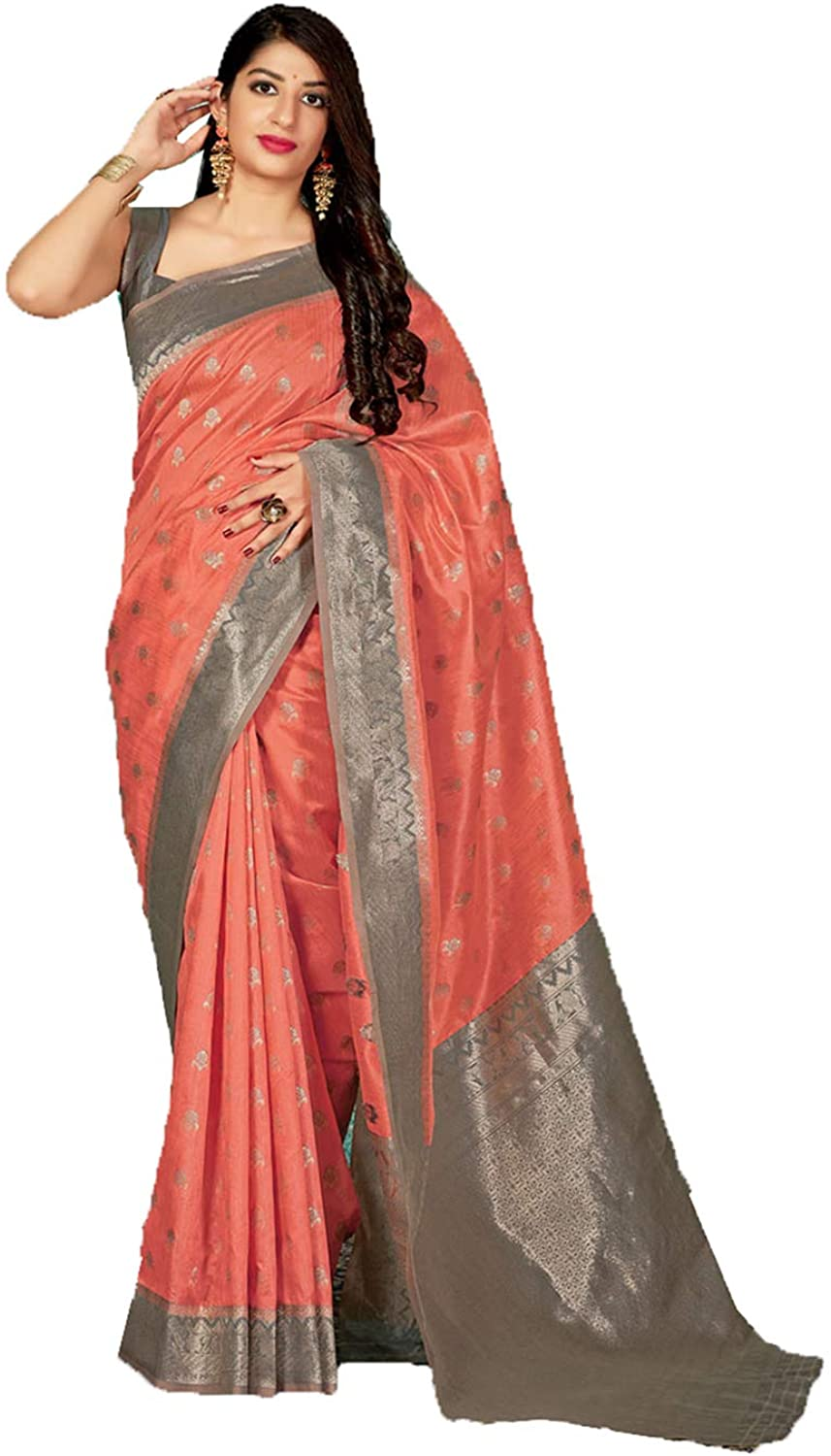 Indian Saree for Women Ethnic Sari Pink Sari with Unstitched Blouse. ICW2787-10