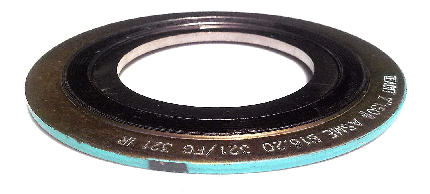 Sur-Seal, Inc. Teadit 9000IR10321GR300 Turquoise Band with Gray Stripe Spiral Wound Gasket with 321SS Inner Ring, 10