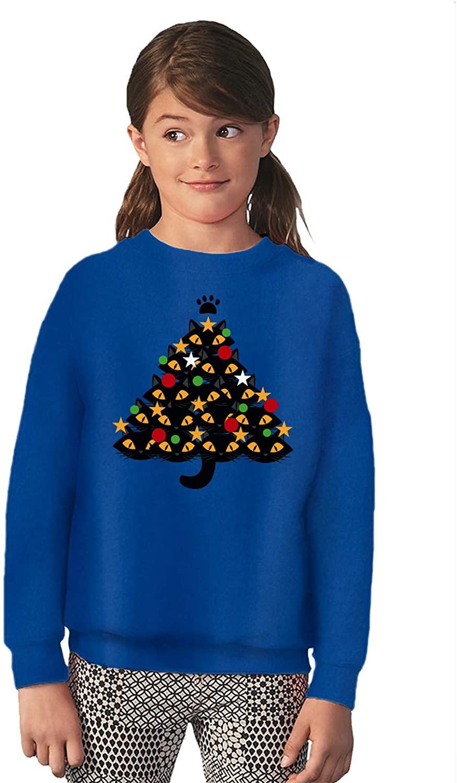 Vizor Funny Ugly Christmas Holidays Sweater for Boys Girls Kids Youth Cats Xmas Tree Sweatshirt