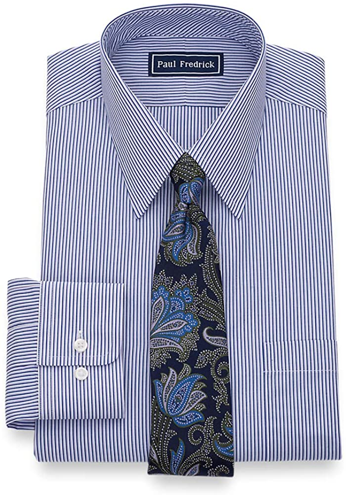 Paul Fredrick Mens Classic Fit Pure Cotton Alternating Stripe Dress Shirt