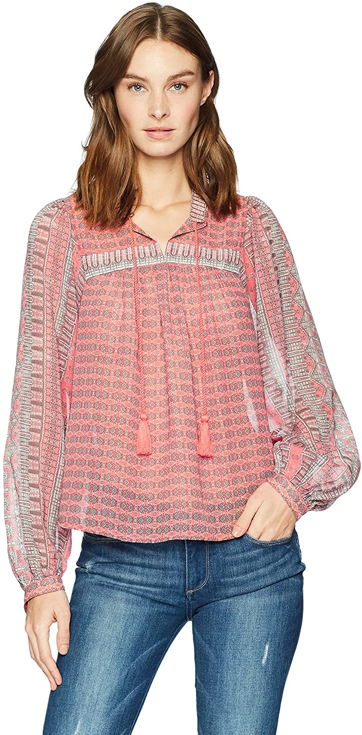 Lucky Brand Women's Border Print Peasant Top in Pink Multi