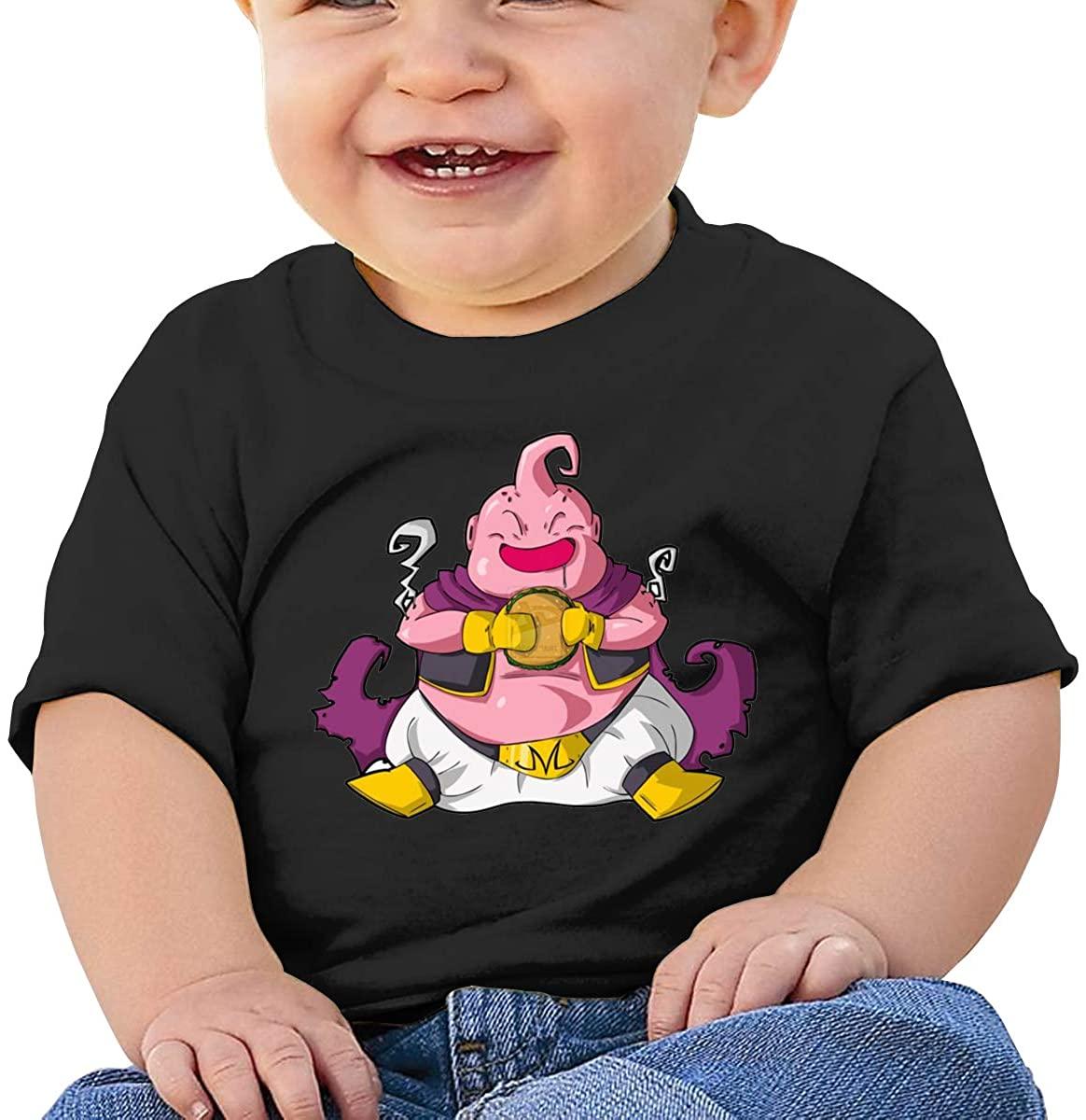 6-24 Months Boy and Girl Baby Short Sleeve T-Shirt Dragon Ball Majin Buu Elegant and Simple Design Black