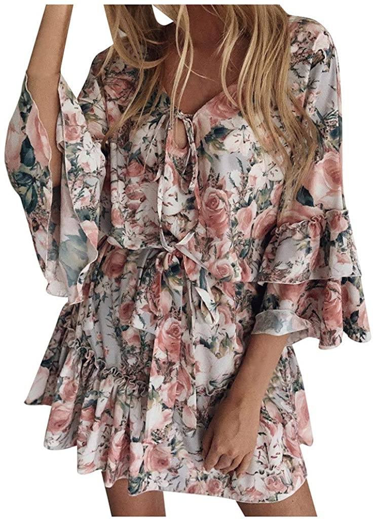 Adeliber Uniform Dress Shoes Womens Boho Floral Mini Swing Dress Summer Holiday Beach Ruffle Frill Sundress
