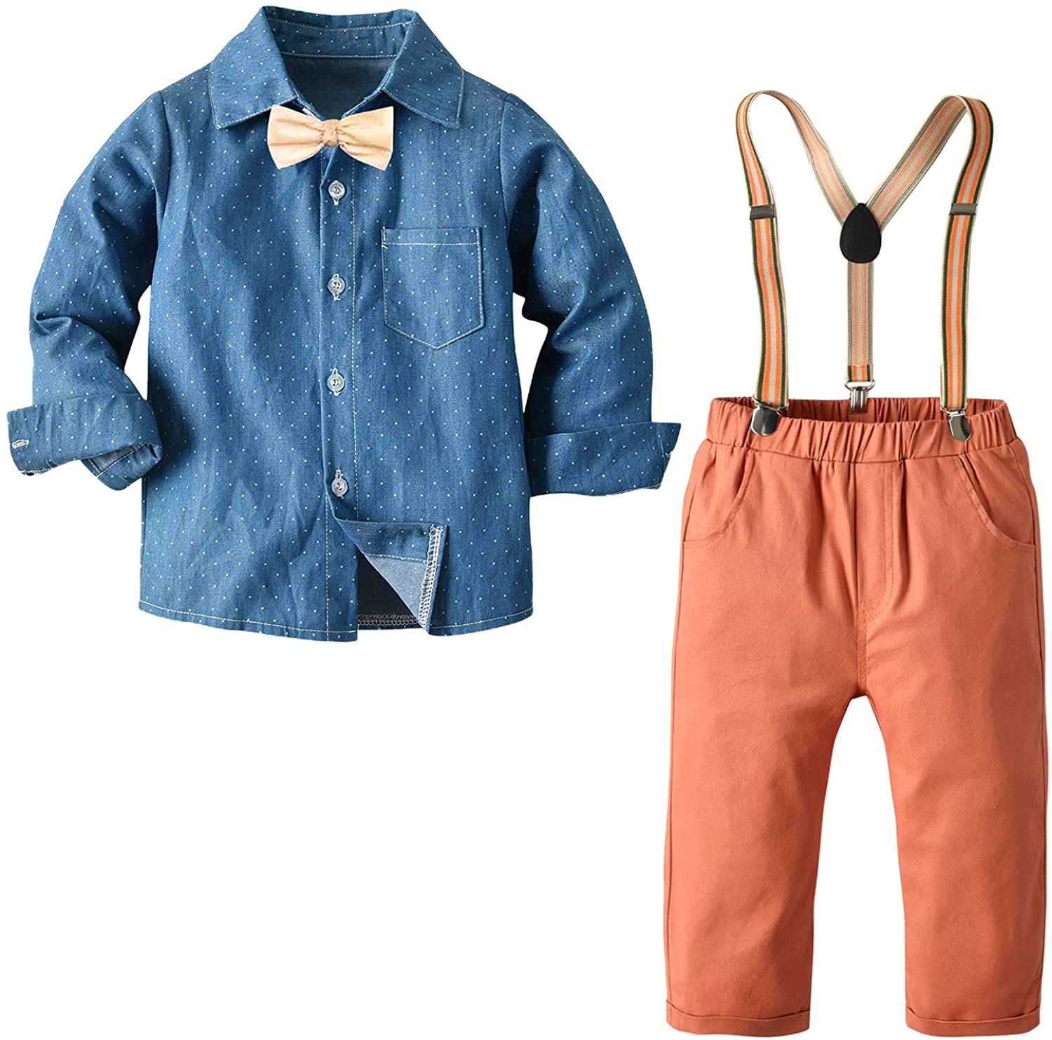 Autumn Boys Clothes Sets Toddler Boy Outfits Bow Ties Shirts + Suspenders Pants Gentleman Suits