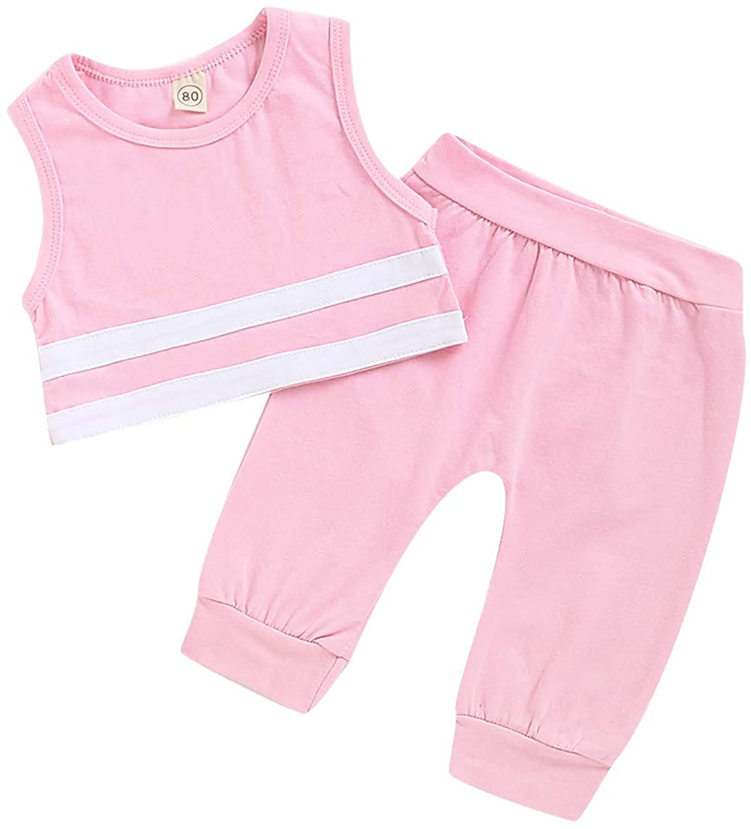 Infant Toddler Baby Girls Summer Clothes Sets Sleeveless Stripe T-Shirt Tops+Pants 2Pcs Sports Outfits