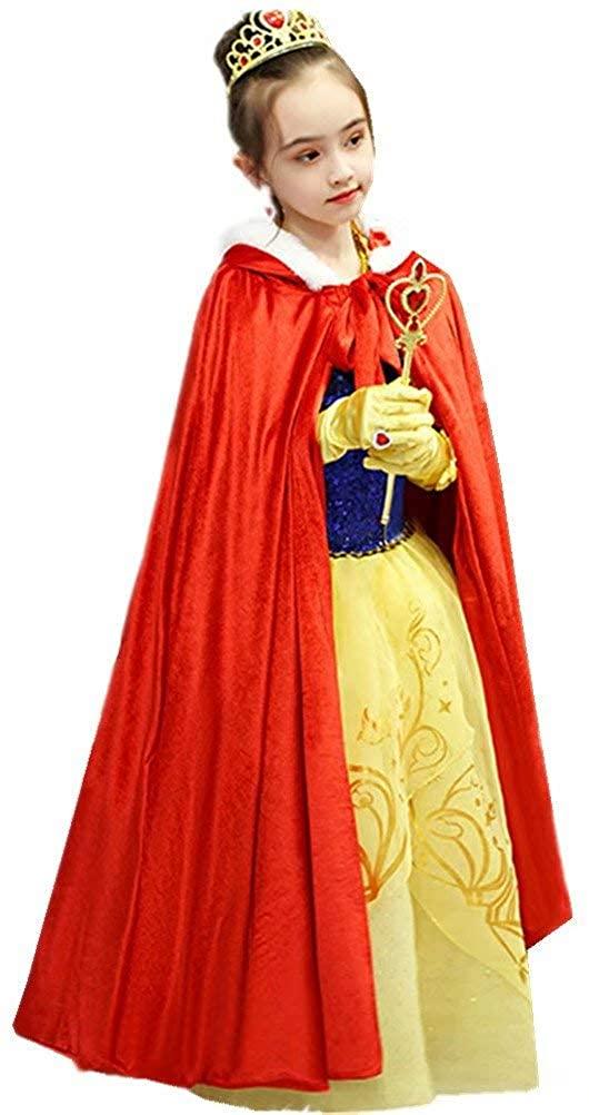 Tsyllyp Full Length Hooded Cloak Velvet Cape for Girls Princess Christmas Halloween Costumes