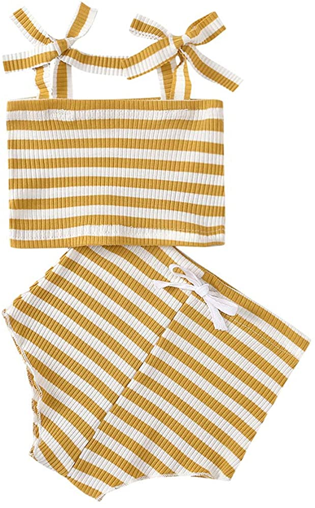 Mukola Newborn Baby Girls Summer Ribbed Strap Vest Top + Cotton Shorts Pants 2PCS Outfits