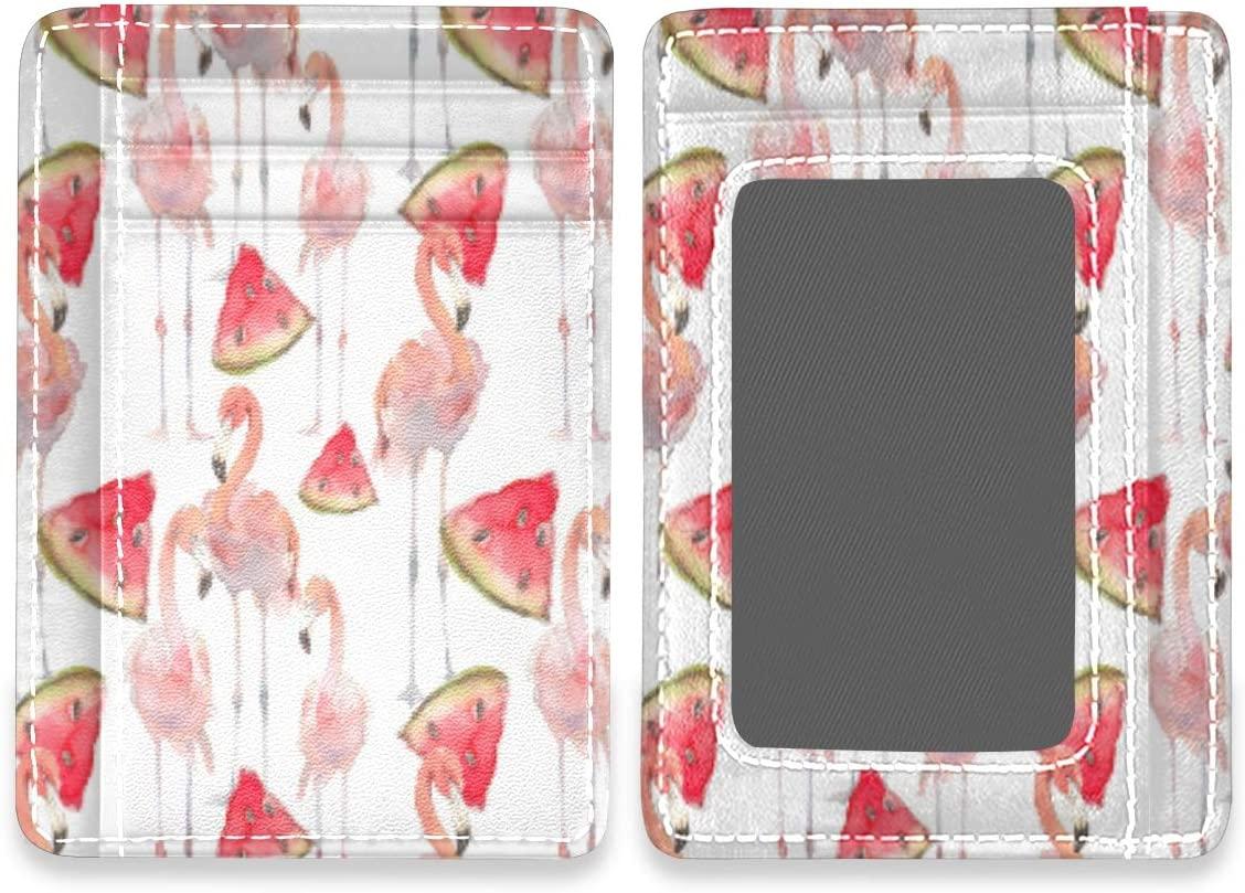 Beautiful Flamingo Summer Watermelon RFID Credit Card Holders Case Organizer Slim Minimalist Wallet Women Men