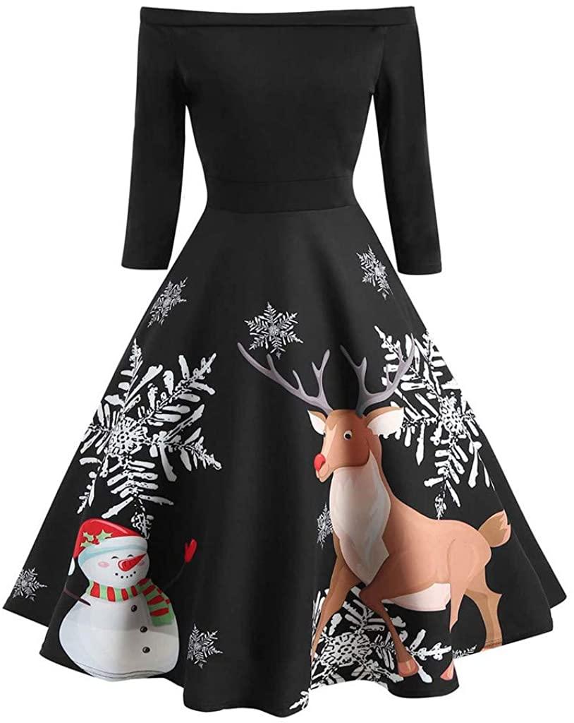 ZEFOTIM Christmas Vintage Dress, Christmas Women Off Shoulder Print Vintage Evening Party Dress Flare Dress