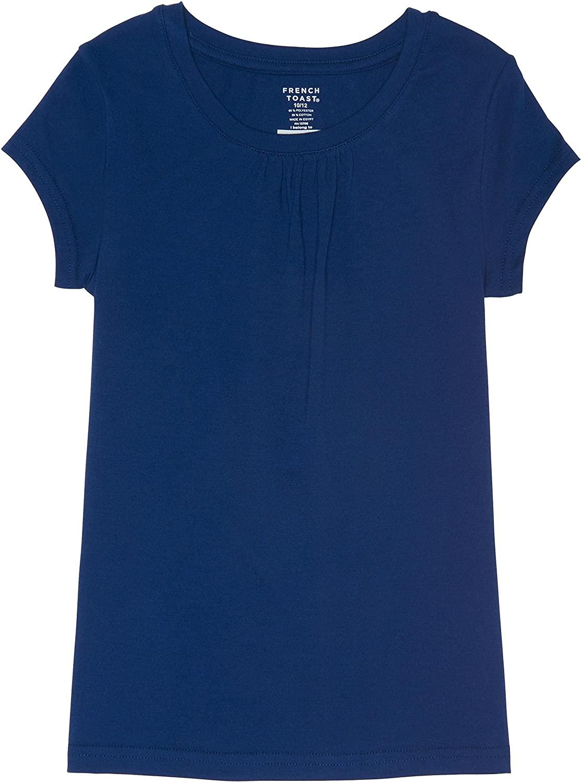 French Toast School Uniform Girls Short Sleeve Crew Neck T-Shirt Front Gathers