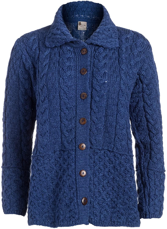 Ladies Honeycomb Ladies Cardigan - 100% Merino Wool Irish Knit with Bottons