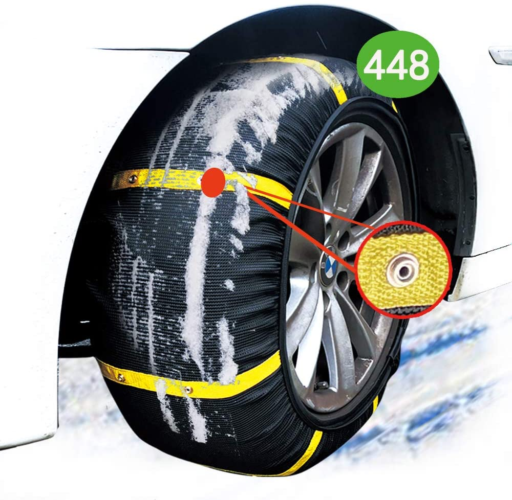 atliprime 2pcs Anti-Skid Safety Ice Mud Tires Snow Chains Auto Snow Chains Fabric Tire Chains Auto Snow Sock on Ice and Snowy Road (SD448)