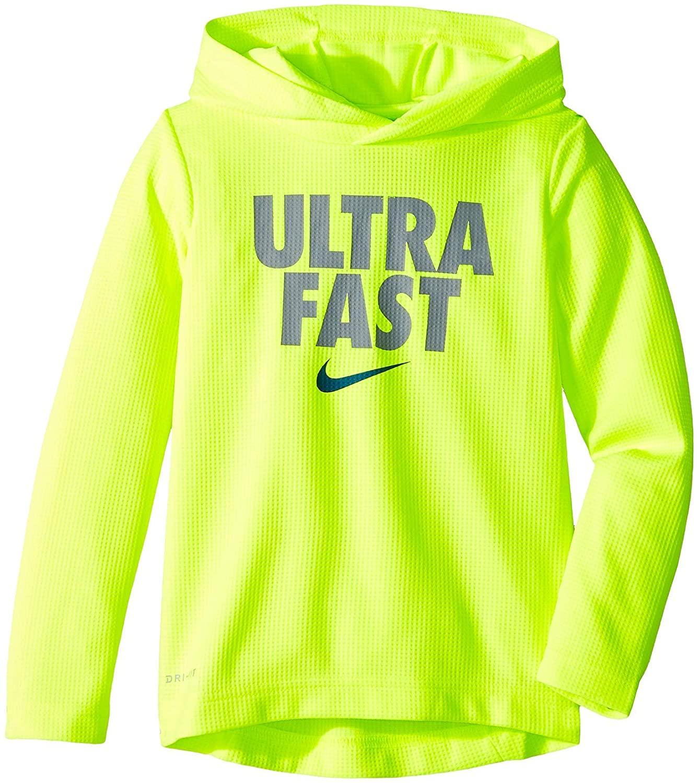 Nike Kids Baby Boy's Thermal Verbiage Pullover (Toddler) Cool Grey/Volt 2T Toddler