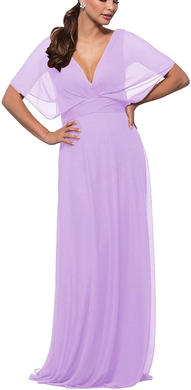 YUSHENGSM Women's Bridesmaid Dresses Long Prom Dress Formal Evening Gown Flutter Sleeve