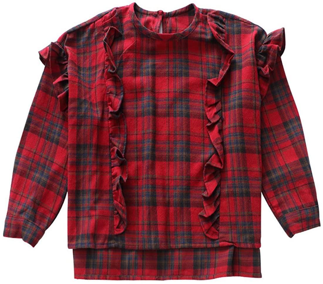 MV Children's Wear Plaid Shirt Spring Autumn New Long Sleeved Girl Pure Cotton