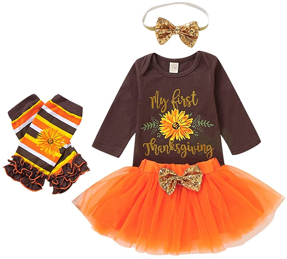 Baby Girl My First Thanksgiving Outfit Letter Romper Bodysuit Tutu Skirt Leg Warmers Headband Clothes Set