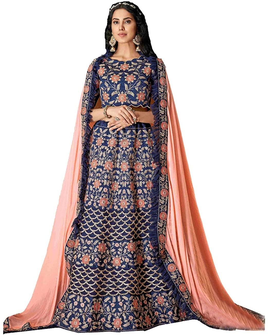 Indian Women Designer Partywear Ethnic Traditional Blue Lehenga Choli. ICW2607-4