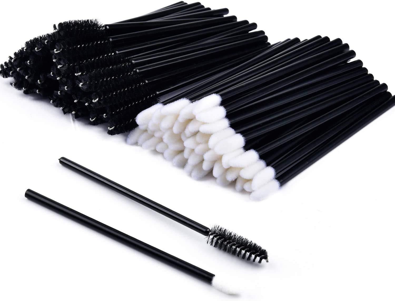 200 PCS Disposable Mascara and Lip Wands,MORGLES Disposable Eyelash Mascara Wands Brushes &100 Pcs Disposable Lip Gloss Wands Lipstick Applicators
