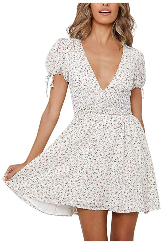 terbklf Women's Dress Summer Deep V Neck Holiday Style Slim Mini Dress Elegant Floral Printed Boho Tunic Pleated Dresses